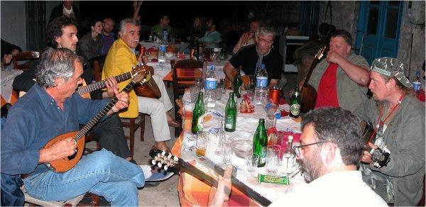 Rebetiko music at To Steki Taverna, Hydra, in 2008.